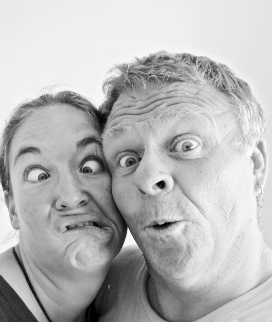 Courtenay and his wife Laura pulling faces