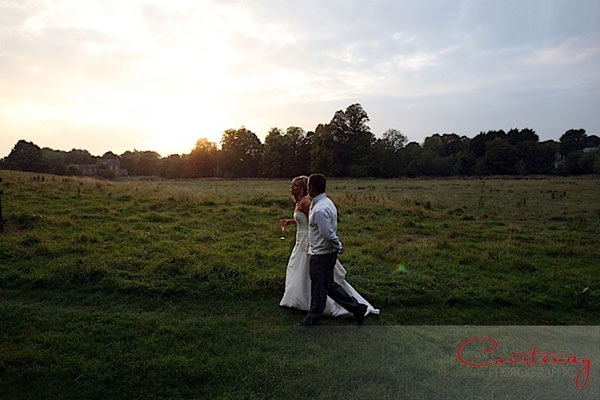 bride groom walk dorset sunset