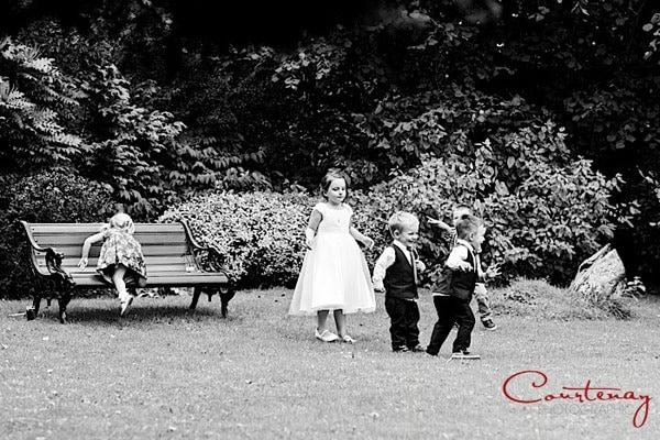 children play at wedding