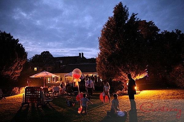 Eastbuiry Hotel Dorset wedding garden at night