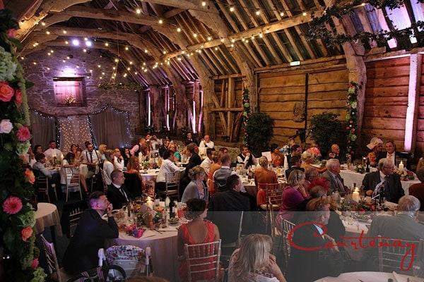 interior of stockbridge farm barn during wedding