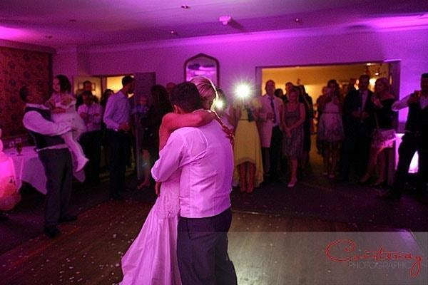 wedding dancefloor lit pink