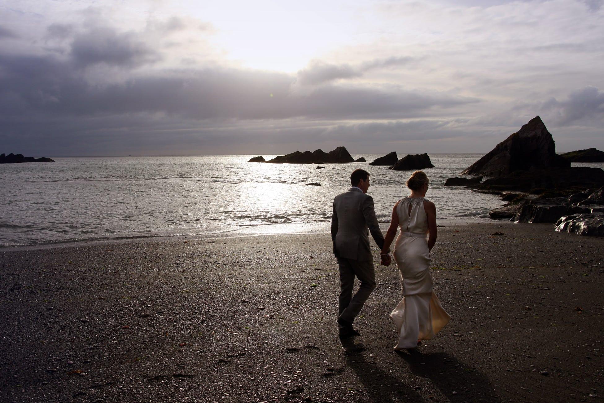 bride-groom-sunset-Devon-beach