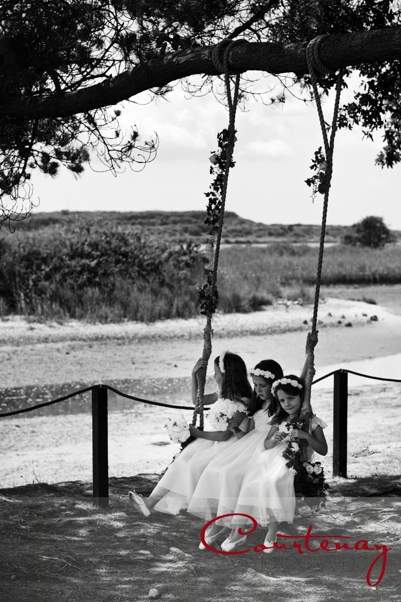 bridesmaids on a swing seat