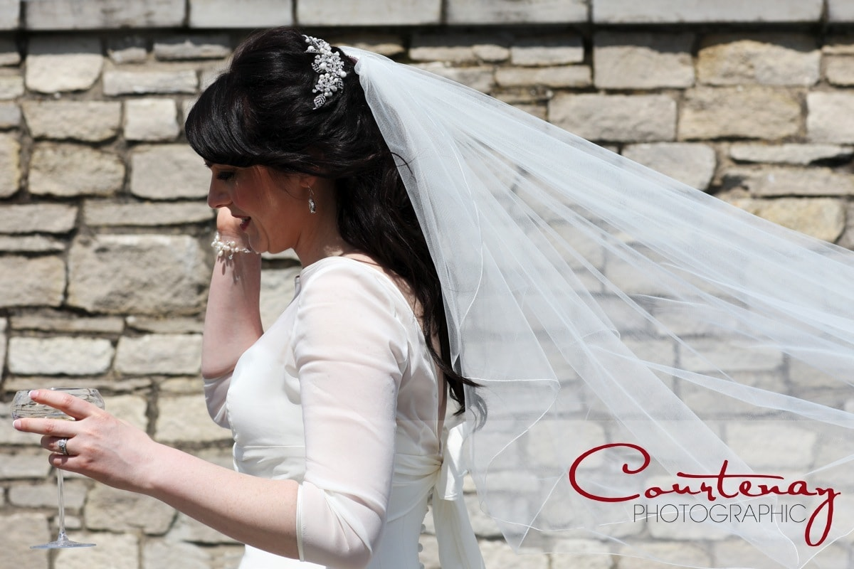 bride with her veil out behind