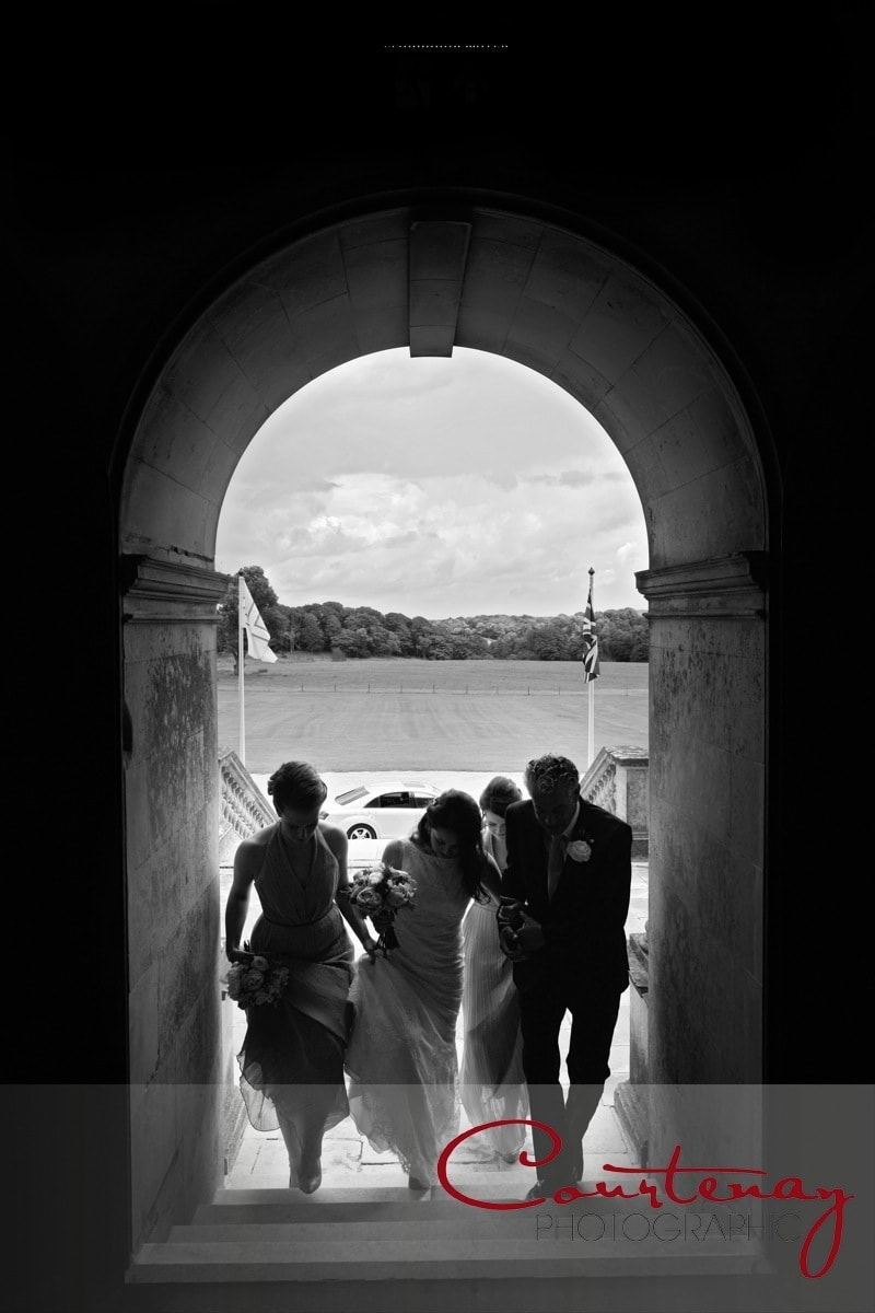 bridal party enter castle