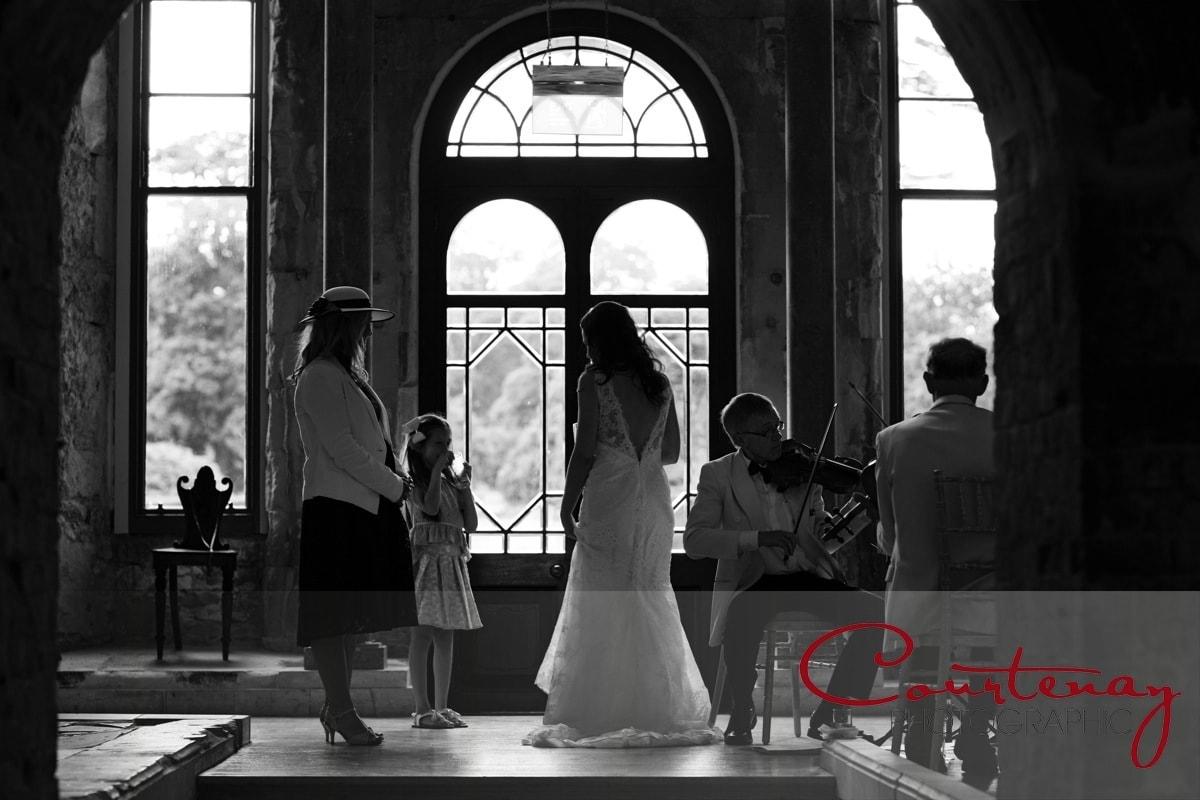 bride enjoys string quartet