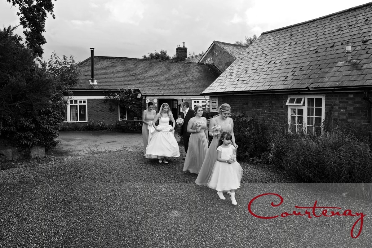 bridal party heads to ceremony