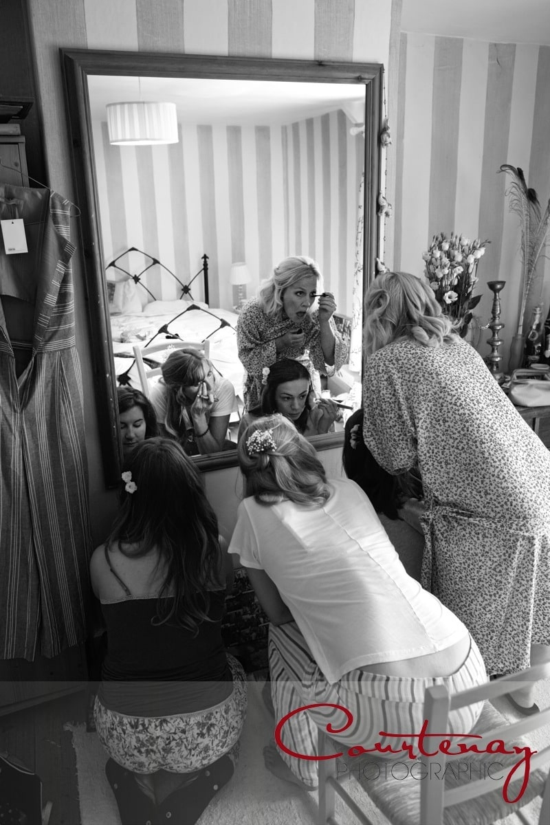 bridesmaids getting ready together