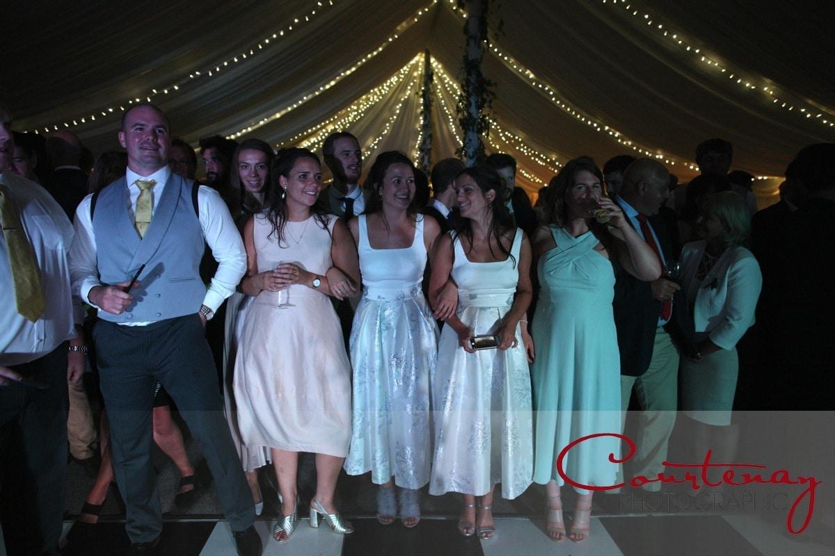 bridesmaids watch the dance floor