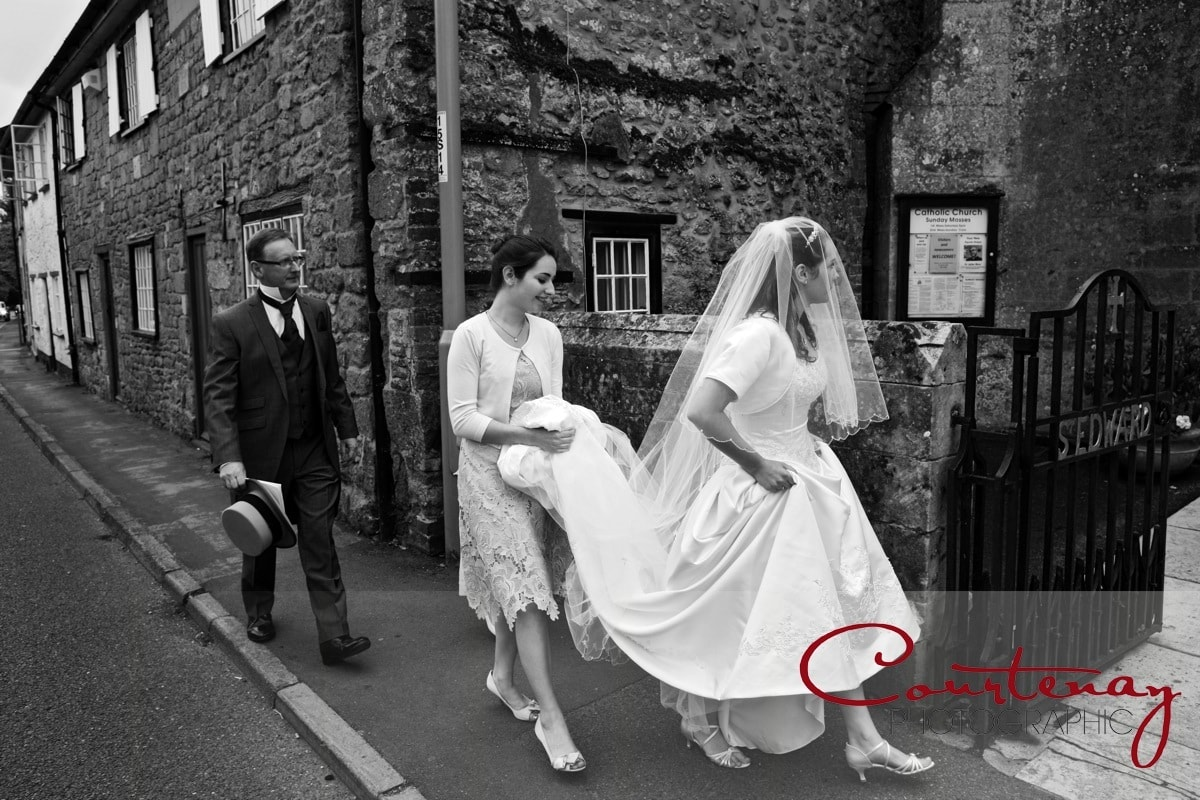 bride walks to church