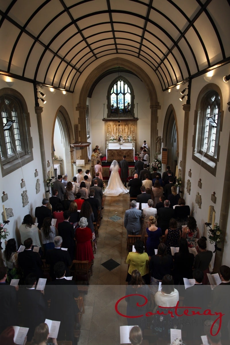 view of the wedding from above in church