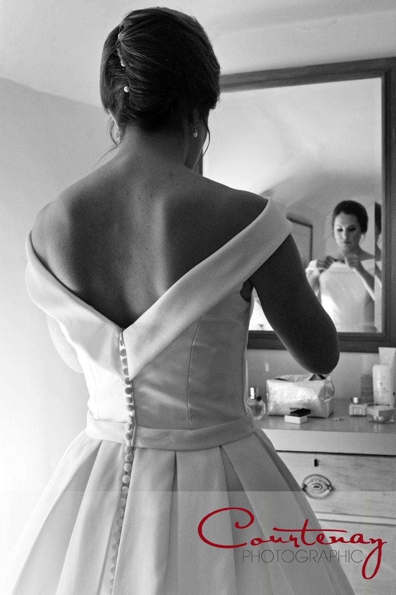 bride prepares for wedding ceremony