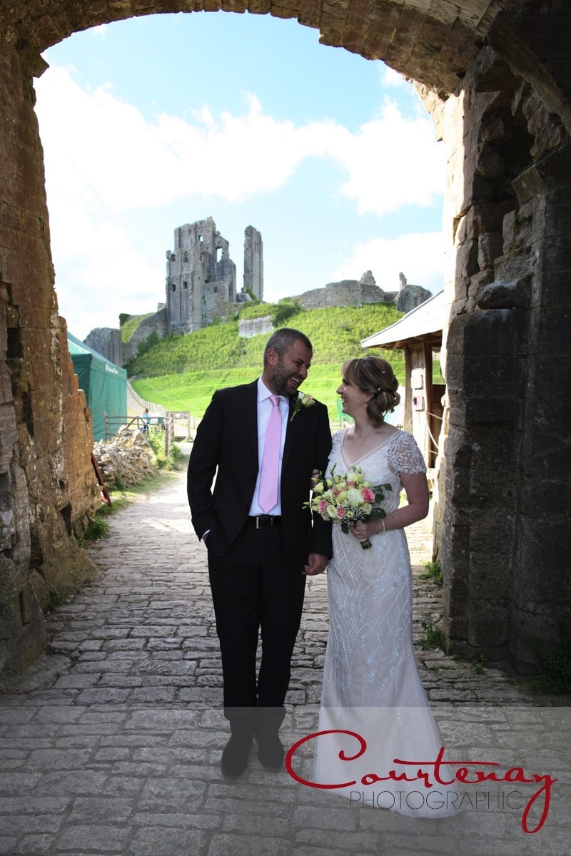 Bride and groom at corfe castle
