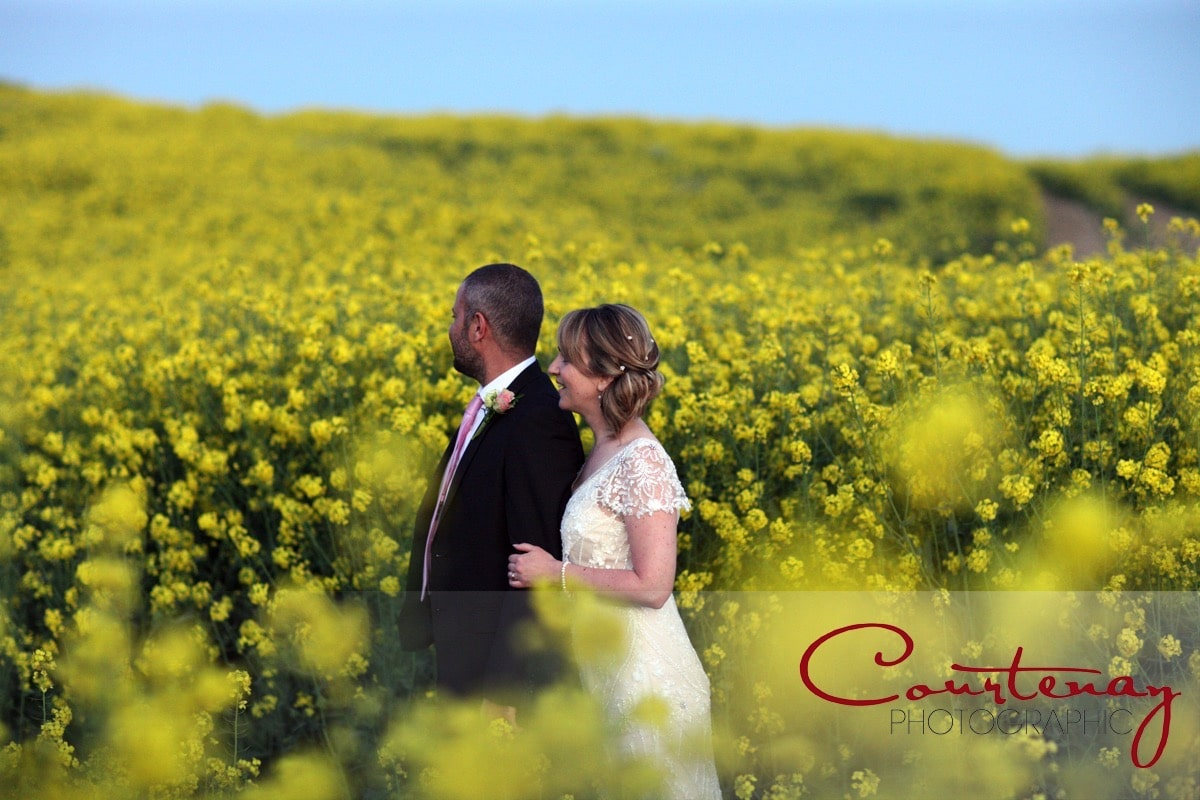 bride and groom enjoy the dorset countryside