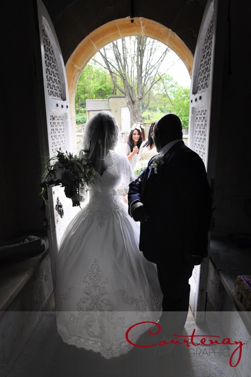bride and dad at the church door