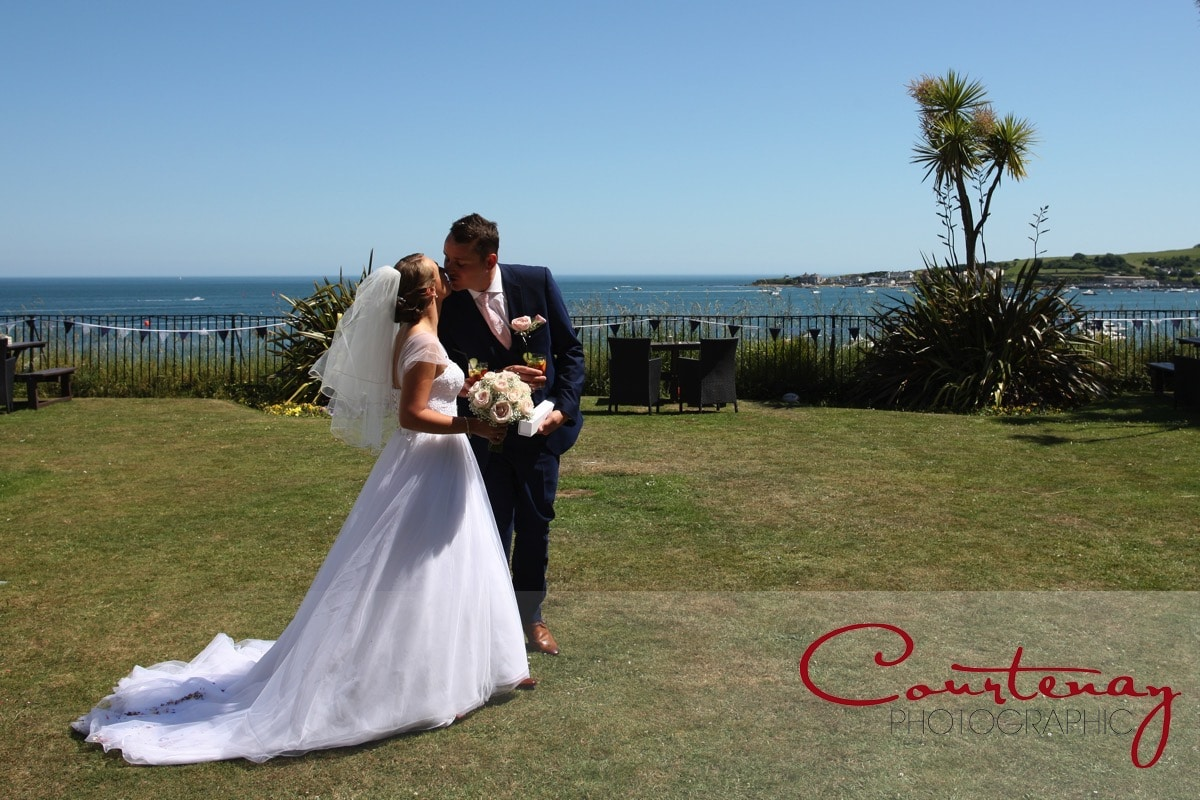 happy couple head into the sunshine