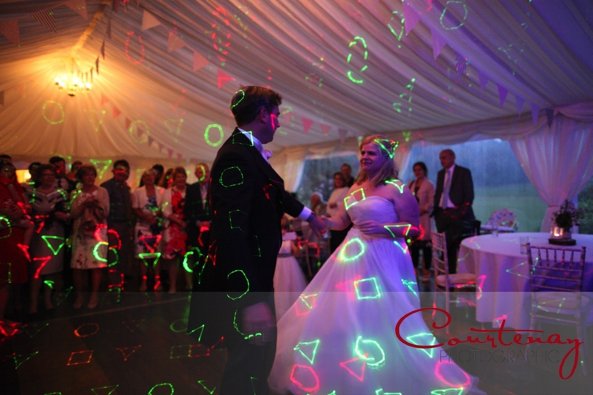 coloured light patterns on the happy couple