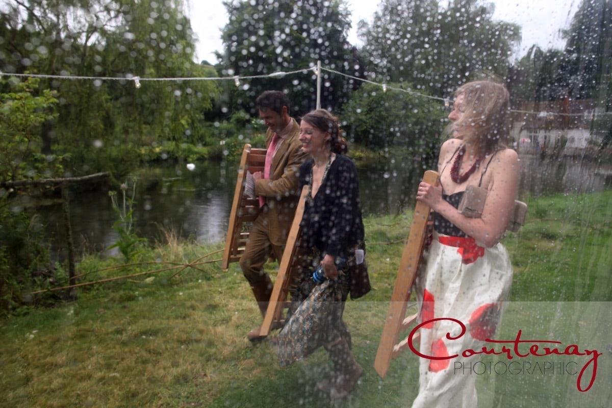 rainy wedding at Springhead Trust Wedding