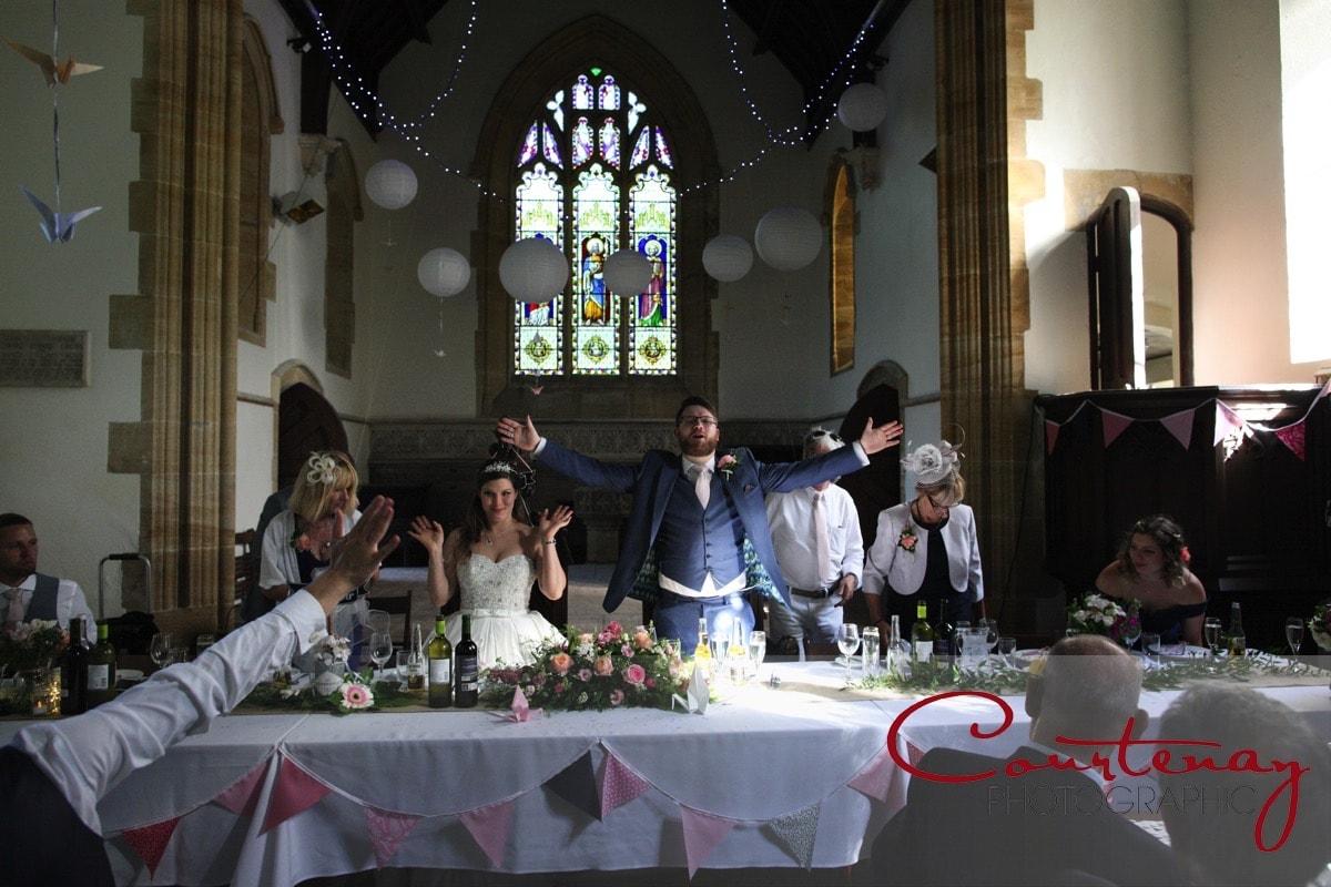 Plush Manor wedding reception in chapel