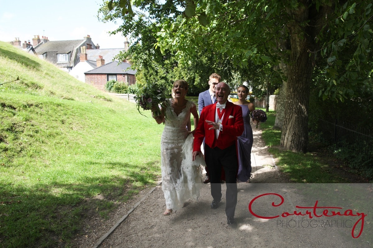 toastmaster and bride share a joke