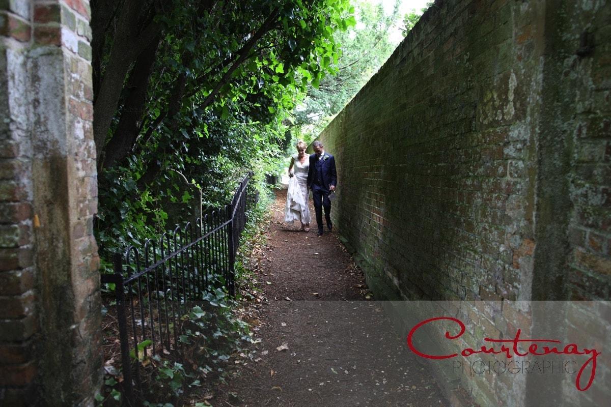 bride and groom take a wander
