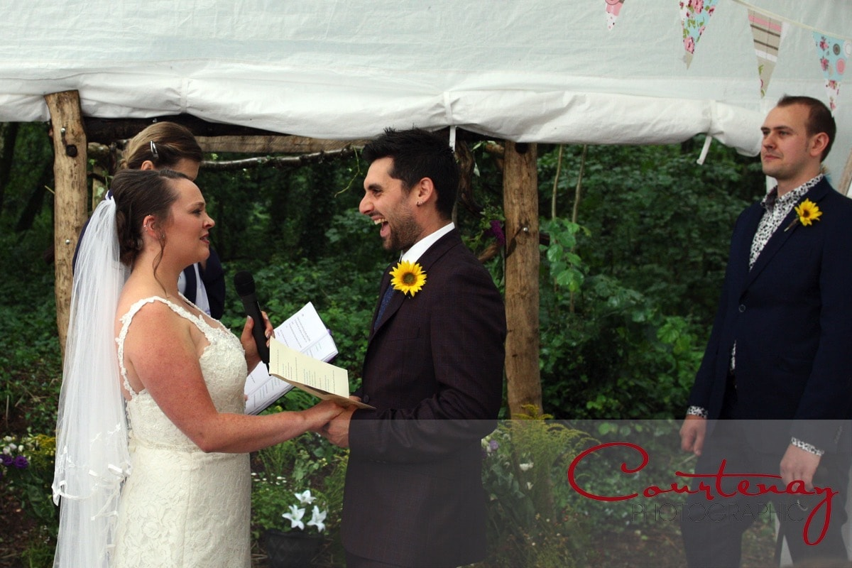bride and groom exchange personal vows