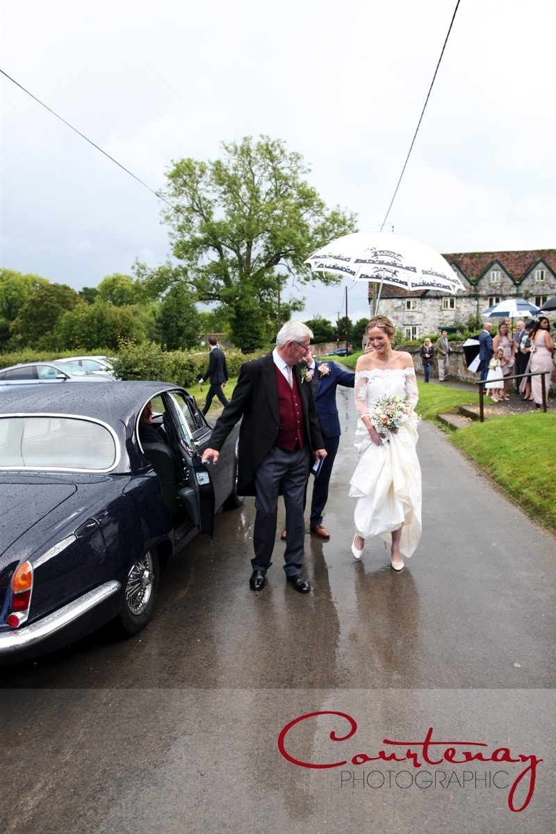 escorted to the wedding car