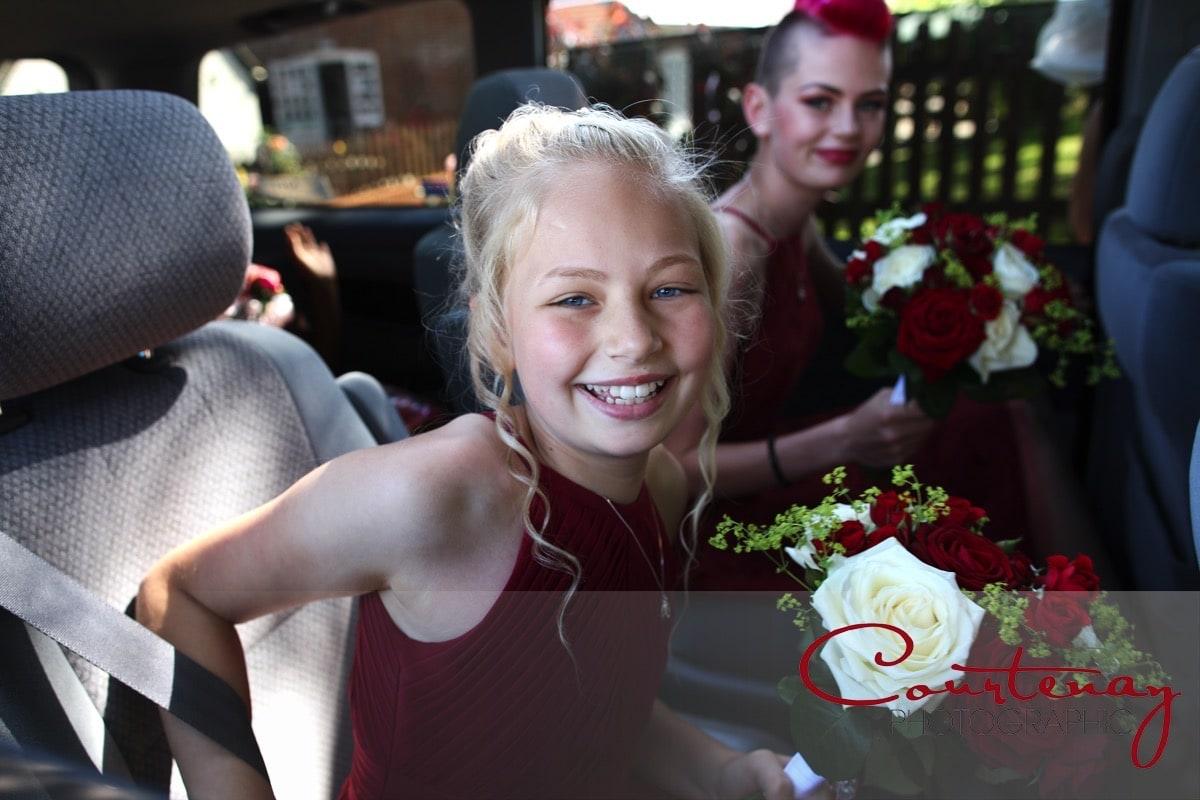 bridesmaids arriving