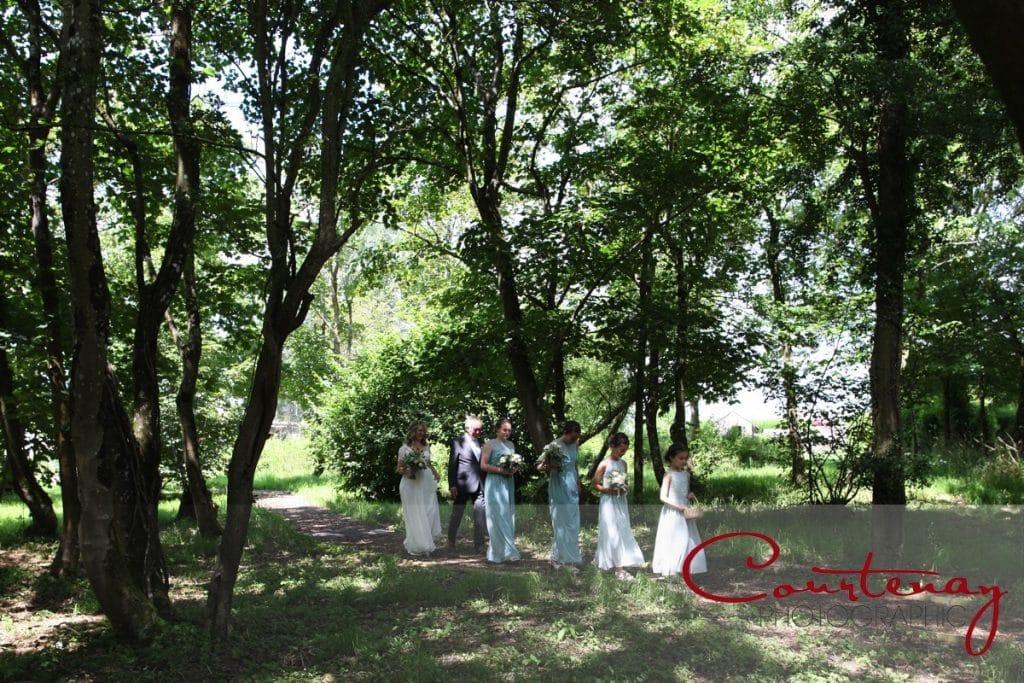 outdoor birdal procession at Coppleridge Inn Wedding
