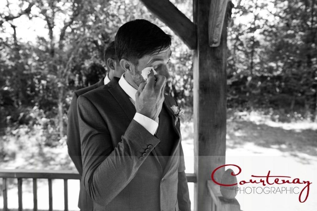 emotional groom at Coppleridge Inn Wedding