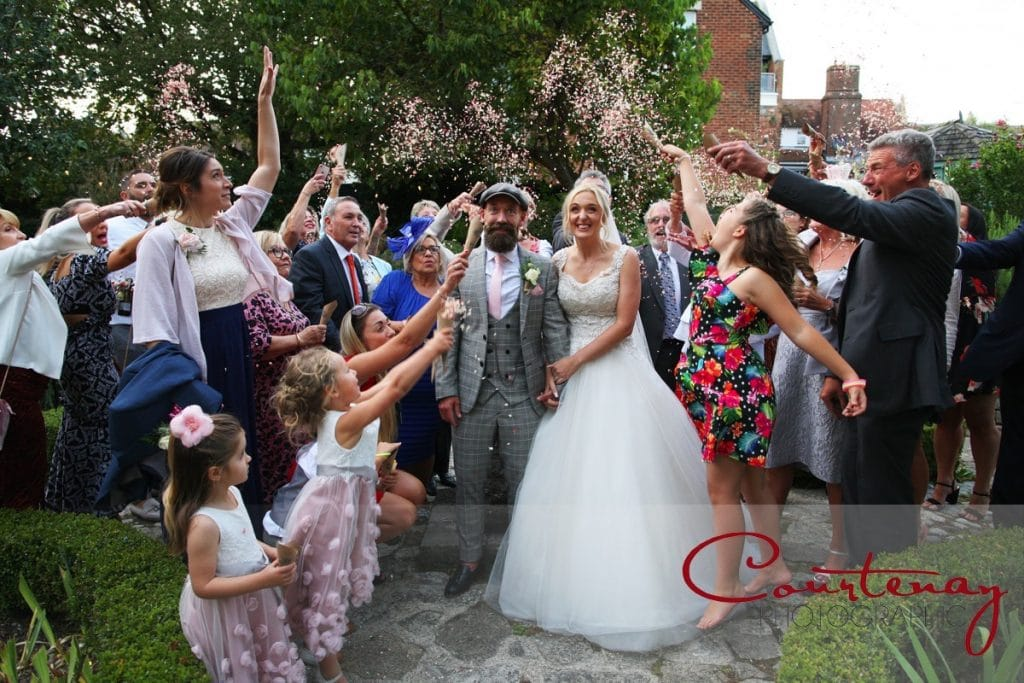 Scaplens Court Wedding confetti walled garden
