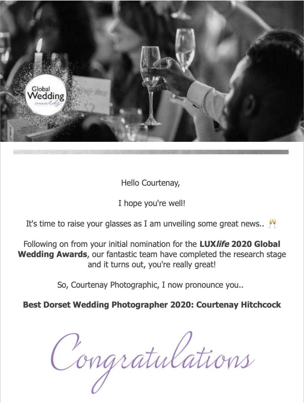Luxlife Global wedding Awards 2020 - Best Dorset Wedding Photographer - Courtenay Hitchcock - Dorset Wedding Photographer - Courtenay Photographic